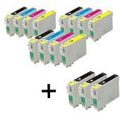 Compatible Multipack Epson T1281/4 3 Full Sets + 3 FREE Black Inkjet Printer Cartridges