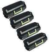 999inks Compatible Quad Pack Lexmark 62D2X00 Black Extra High Capacity Laser Toner Cartridges