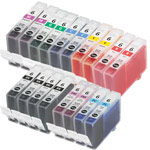 Compatible Multipack Canon BCI-6BK/C/M/Y/G/R/PC/PM 2 Full Sets + 2 FREE Black Inkjet Printer Cartridges