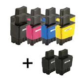 Compatible Multipack Brother LC900 2 Full Set + 2 Free Black Inkjet Printer Cartridges