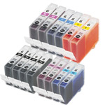 Compatible Multipack Canon BCI-6BK/C/M/Y/PC/PM 2 Full Sets + 2 FREE Black Inkjet Printer Cartridges