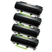 Compatible Quad Pack Lexmark 522H Black High Capacity Laser Toner Cartridges