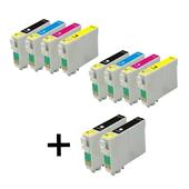 Compatible Multipack Epson T1281/4 2 Full Sets + 2 FREE Black Inkjet Printer Cartridges