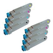 Compatible Multipack Oki 438371 2 Full Sets Laser Toner Cartridges