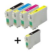 Compatible Multipack Epson T0611 1 Full Set + 1 FREE Black Inkjet Printer Cartridges