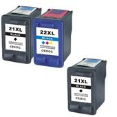999inks Compatible Multipack HP 21XL/22XL 1 Full Set + 1 Extra Black High Capacity Inkjet Printer Cartridges
