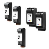 999inks Compatible Multipack HP 15/78 2 Full Sets + 1 Extra Black Inkjet Printer Cartridges