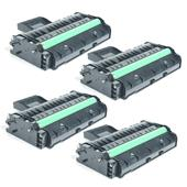 Compatible Quad Pack Ricoh 407255 Black Laser Toner Cartridges