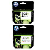 1 Full Set HP 305XL Black and 1 Tri Colour Set HP 305XL Original High Capacity Ink Cartridges