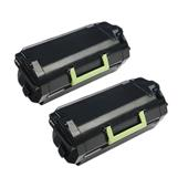 999inks Compatible Twin Pack Lexmark 53B2000 Black Standard Capacity Laser Toner Cartridges