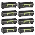 999inks Compatible Eight Pack Lexmark 502H Black Laser Toner Cartridges