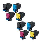 999inks Compatible Multipack Konica Minolta TNP-51K/C/M/Y 2 Full Sets Laser Toner Cartridges