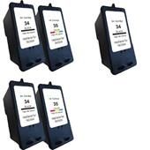 Compatible Multipack Lexmark 34/35 2 Full Sets + 1 Extra Black Inkjet Printer Cartridges