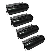 Compatible Quad Pack Lexmark T650A21E Black Laser Toner Cartridges