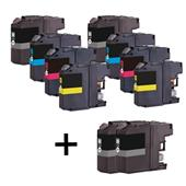 Compatible Multipack Brother LC123 2 Full Sets + 2 FREE Black Set Inkjet Printer Cartridges