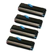 999inks Compatible Quad Pack OKI 09004168 Black Standard Capacity Laser Toner Cartridges