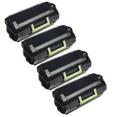 999inks Compatible Quad Pack Lexmark 51B2000 Black Standard Capacity Laser Toner Cartridges