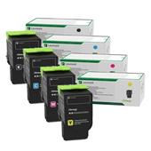 Lexmark 78C20K0-78C20Y0 Full Set Oringal High Capacity Laser Toner Cartridges