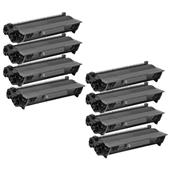 Compatible Eight Pack Brother TN3380 Black Laser Toner Cartridges
