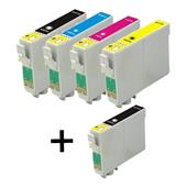 Compatible Multipack Epson T0711 1 Full Set + 1 FREE Black Inkjet Printer Cartridges