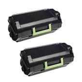 Compatible Twin Pack Lexmark 24B6186 Black Laser Toner Cartridges