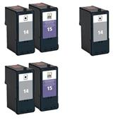 Compatible Multipack Lexmark 14/15 2 Full Sets + 1 Extra Black Inkjet Printer Cartridges