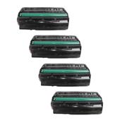 Compatible Quad Pack Ricoh 407249 Black Standard Capacity Laser Toner Cartridges