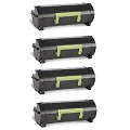 999inks Compatible Quad Pack Lexmark 502H Black Laser Toner Cartridges
