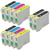Compatible Multipack Epson T0601/4 2 Full Sets + 2 FREE Black Inkjet Printer Cartridges