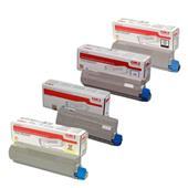 OKI 46443104-4 Full Set Original High Capacity Laser Toner Cartridges