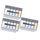 999inks Compatible Multipack Canon PFI-102BK and PFI-102MBK/C/M/Y 3 Full Sets Inkjet Printer Cartridges