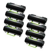 Compatible Eight Pack Lexmark 522H Black High Capacity Laser Toner Cartridges
