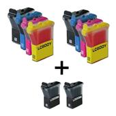 999inks Compatible Multipack Brother LC600 2 Full Sets + 2 FREE Black Inkjet Printer Cartridges