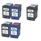 999inks Compatible Multipack HP 21XL/22XL 2 Full Sets + 1 Extra Black High Capacity Inkjet Printer Cartridges