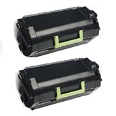 999inks Compatible Twin Pack Lexmark 620XA Black Extra High Capacity Laser Toner Cartridges