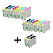 999inks Compatible Multipack Epson T0801 2 Full Sets + 2 FREE Black Inkjet Printer Cartridges