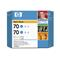 HP 70 Cyan Ink Original Cartridge (Twin Pack) (CB343A)